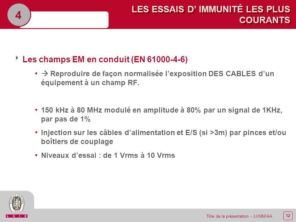 12 Titre de la présentation - JJ/MM/AA LES ESSAIS D IMMUNITÉ LES PLUS COURANTS 4 Les champs EM en conduit (EN 61000-4-6) Reproduire de façon normalisé