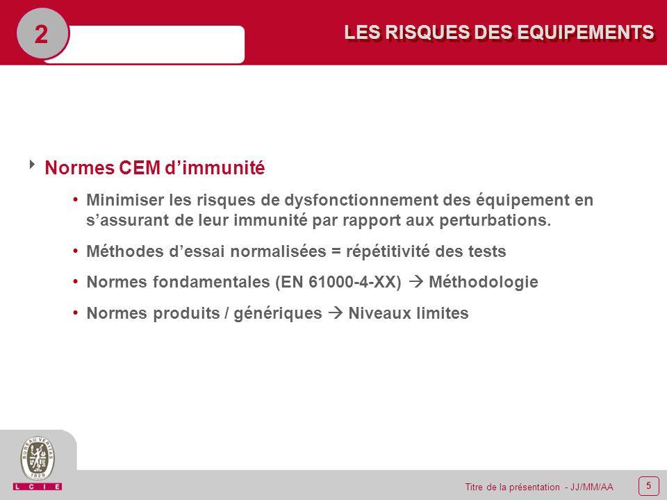 5 Titre de la présentation - JJ/MM/AA LES RISQUES DES EQUIPEMENTS 2 Normes CEM dimmunité Minimiser les risques de dysfonctionnement des équipement en
