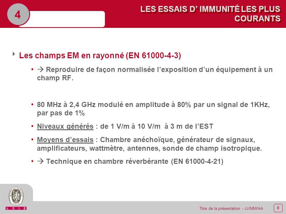 8 Titre de la présentation - JJ/MM/AA LES ESSAIS D IMMUNITÉ LES PLUS COURANTS 4 Les champs EM en rayonné (EN 61000-4-3) Reproduire de façon normalisée