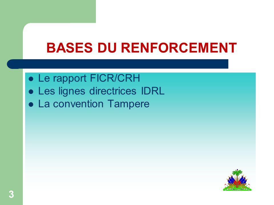 3 BASES DU RENFORCEMENT Le rapport FICR/CRH Les lignes directrices IDRL La convention Tampere