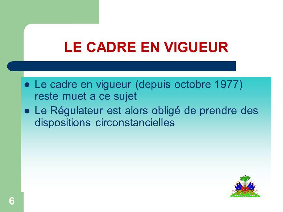 6 Le cadre en vigueur (depuis octobre 1977) reste muet a ce sujet Le Régulateur est alors obligé de prendre des dispositions circonstancielles LE CADRE EN VIGUEUR