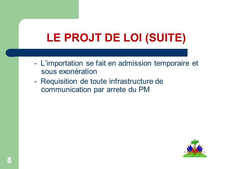 LE PROJT DE LOI (SUITE) - Limportation se fait en admission temporaire et sous exonération - Requisition de toute infrastructure de communication par arrete du PM 8