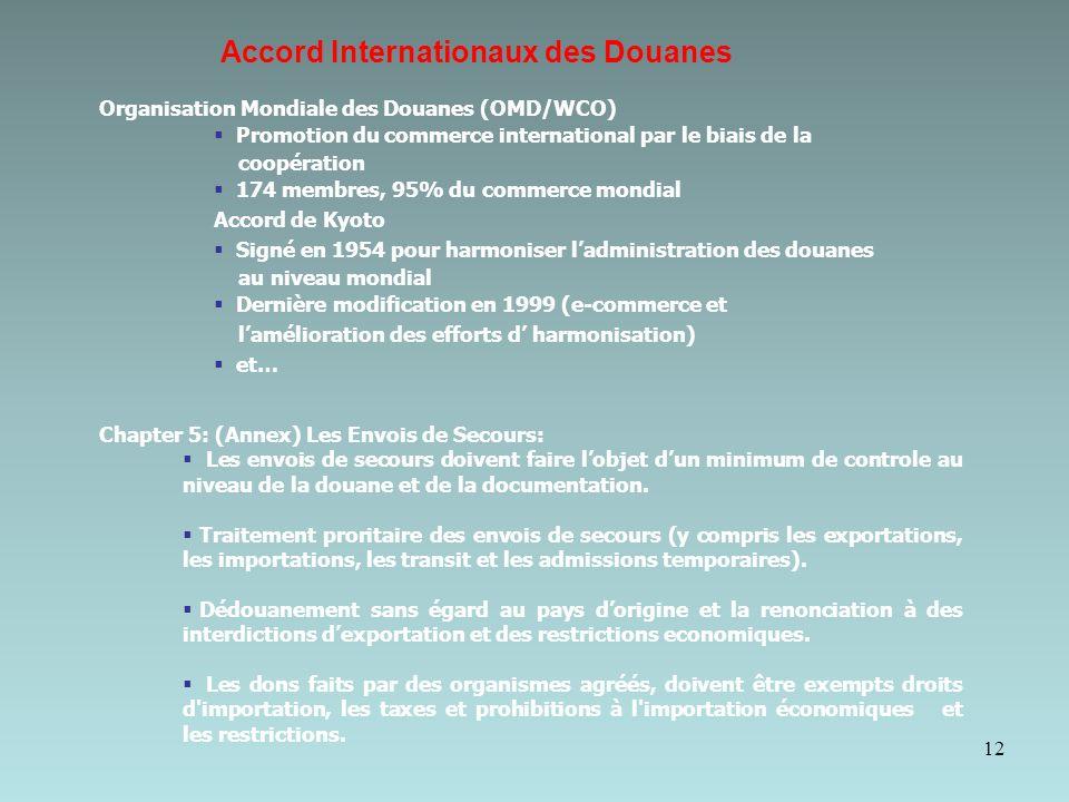 Accord Internationaux des Douanes 12 Organisation Mondiale des Douanes (OMD/WCO) Promotion du commerce international par le biais de la coopération 174 membres, 95% du commerce mondial Accord de Kyoto Signé en 1954 pour harmoniser ladministration des douanes au niveau mondial Dernière modification en 1999 (e-commerce et lamélioration des efforts d harmonisation) et… Chapter 5: (Annex) Les Envois de Secours: Les envois de secours doivent faire lobjet dun minimum de controle au niveau de la douane et de la documentation.