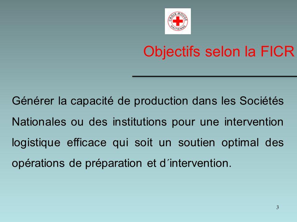 3 Générer la capacité de production dans les Sociétés Nationales ou des institutions pour une intervention logistique efficace qui soit un soutien optimal des opérations de préparation et d´intervention.