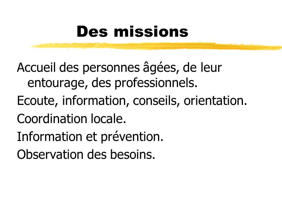 Des missions Accueil des personnes âgées, de leur entourage, des professionnels. Ecoute, information, conseils, orientation. Coordination locale. Info