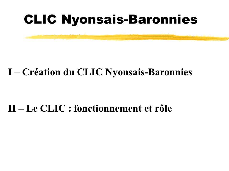 CLIC Nyonsais-Baronnies I – Création du CLIC Nyonsais-Baronnies II – Le CLIC : fonctionnement et rôle