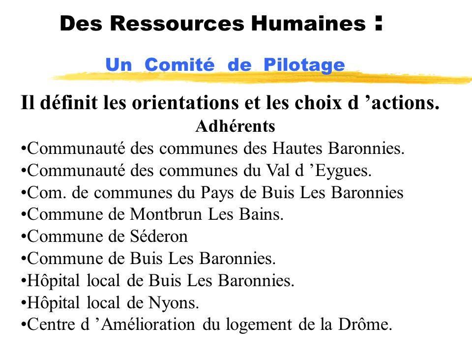 Des Ressources Humaines : Un Comité de Pilotage Il définit les orientations et les choix d actions. Adhérents Communauté des communes des Hautes Baron