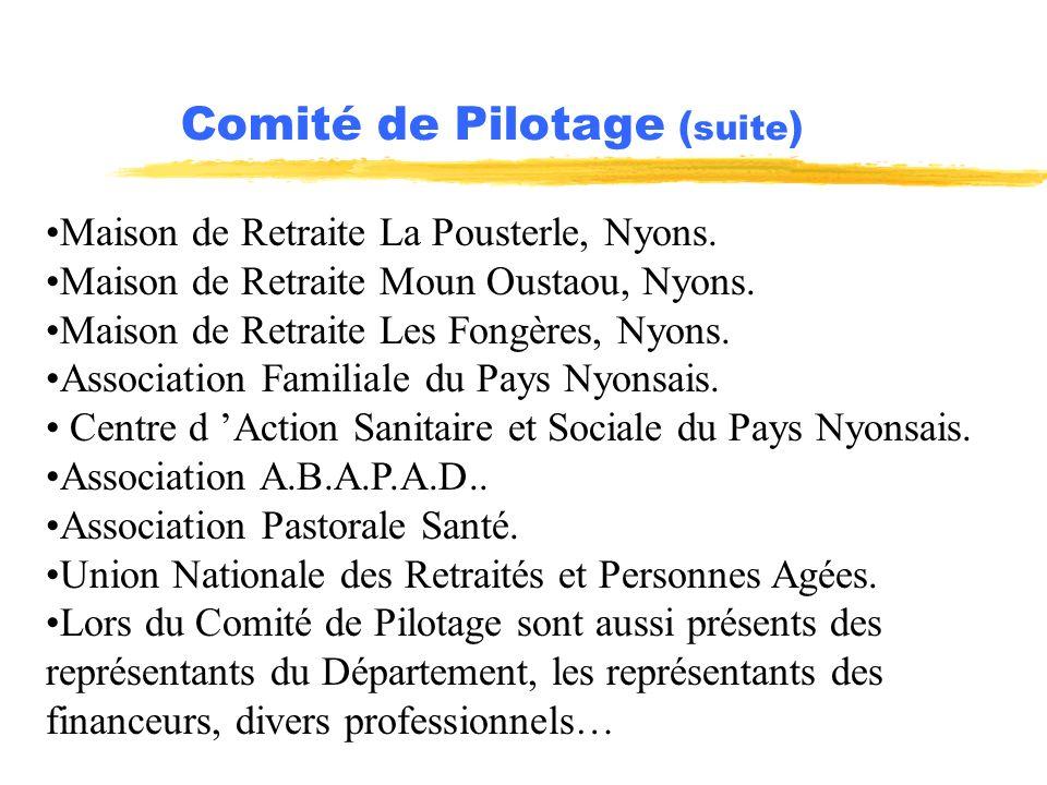 Comité de Pilotage ( suite ) Maison de Retraite La Pousterle, Nyons. Maison de Retraite Moun Oustaou, Nyons. Maison de Retraite Les Fongères, Nyons. A