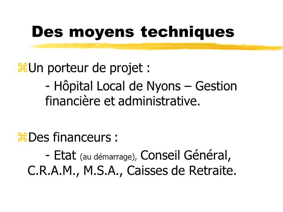 Des moyens techniques zUn porteur de projet : - Hôpital Local de Nyons – Gestion financière et administrative. zDes financeurs : - Etat (au démarrage)
