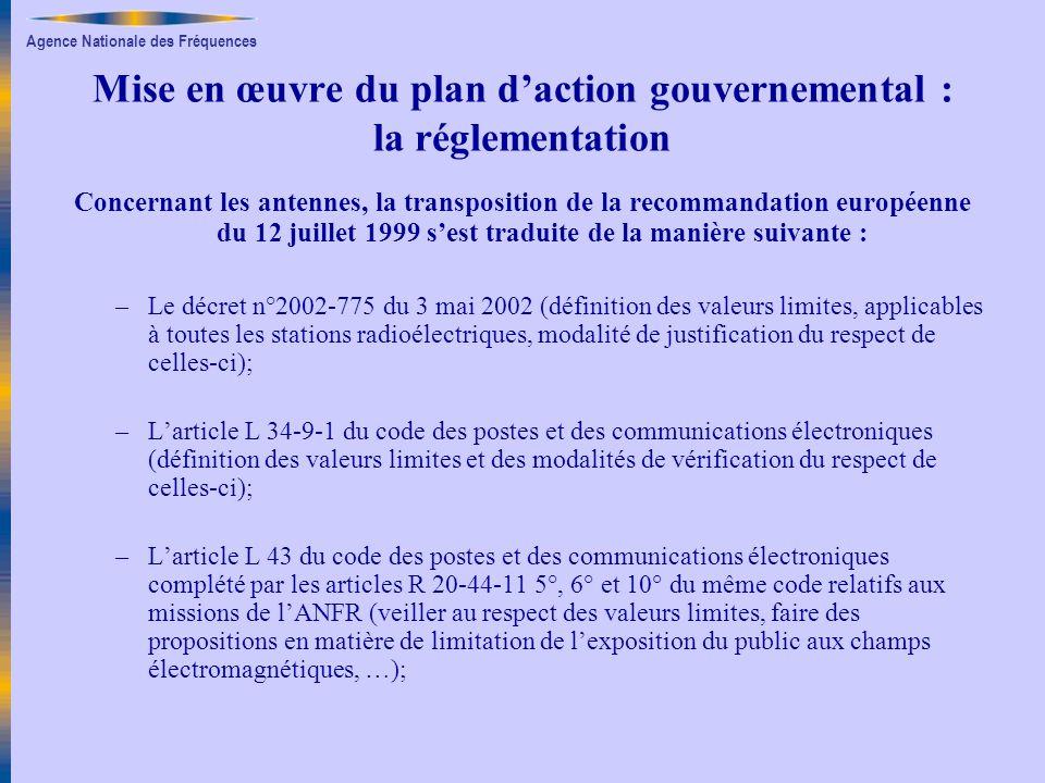 Agence Nationale des Fréquences Mise en œuvre du plan daction gouvernemental : la réglementation Concernant les antennes, la transposition de la recom
