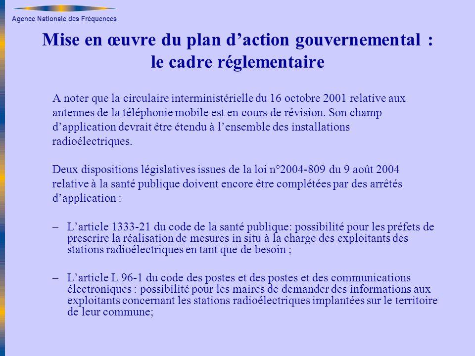 Agence Nationale des Fréquences Mise en œuvre du plan daction gouvernemental : le cadre réglementaire A noter que la circulaire interministérielle du
