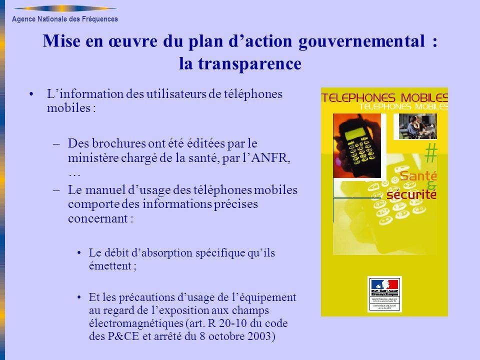 Agence Nationale des Fréquences Mise en œuvre du plan daction gouvernemental : la transparence Linformation des utilisateurs de téléphones mobiles : –