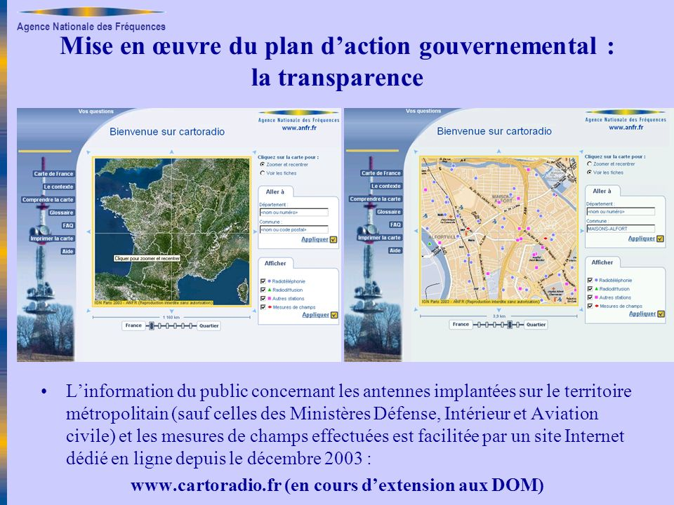 Agence Nationale des Fréquences Mise en œuvre du plan daction gouvernemental : la transparence Linformation du public concernant les antennes implanté