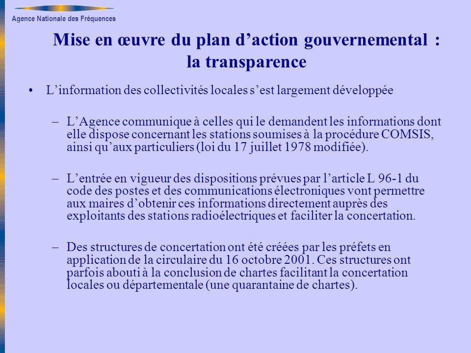 Agence Nationale des Fréquences Linformation des collectivités locales sest largement développée –LAgence communique à celles qui le demandent les inf
