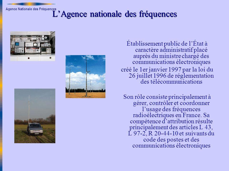 Agence Nationale des Fréquences LAgence nationale des fréquences Établissement public de lÉtat à caractère administratif placé auprès du ministre char