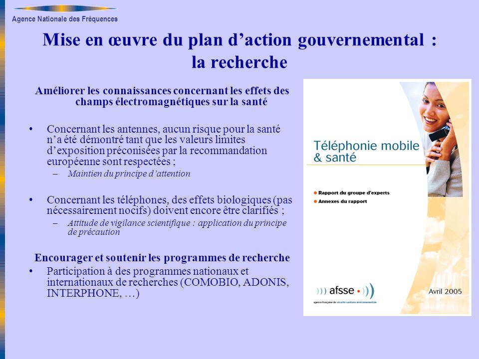 Agence Nationale des Fréquences Mise en œuvre du plan daction gouvernemental : la recherche Améliorer les connaissances concernant les effets des cham