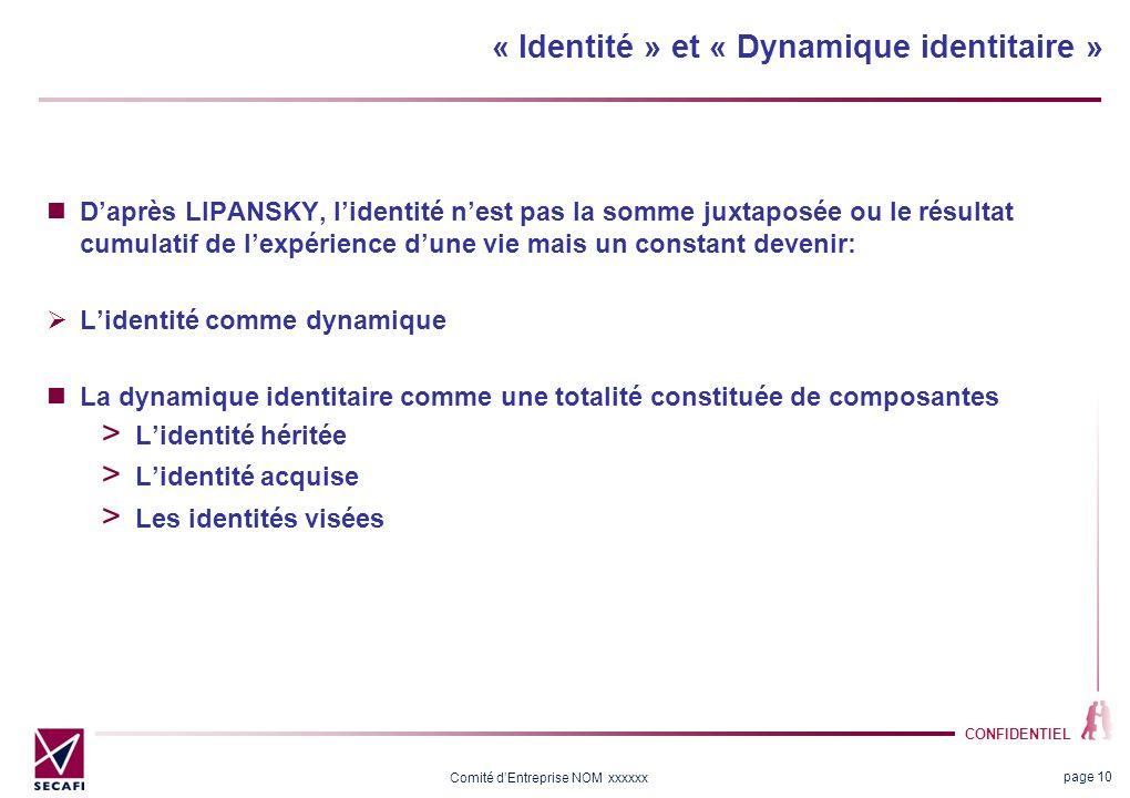 CONFIDENTIEL Comité dEntreprise NOM xxxxxx « Identité » et « Dynamique identitaire » Daprès LIPANSKY, lidentité nest pas la somme juxtaposée ou le rés