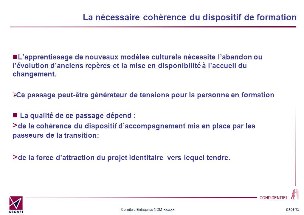 CONFIDENTIEL Comité dEntreprise NOM xxxxxx La nécessaire cohérence du dispositif de formation Lapprentissage de nouveaux modèles culturels nécessite l