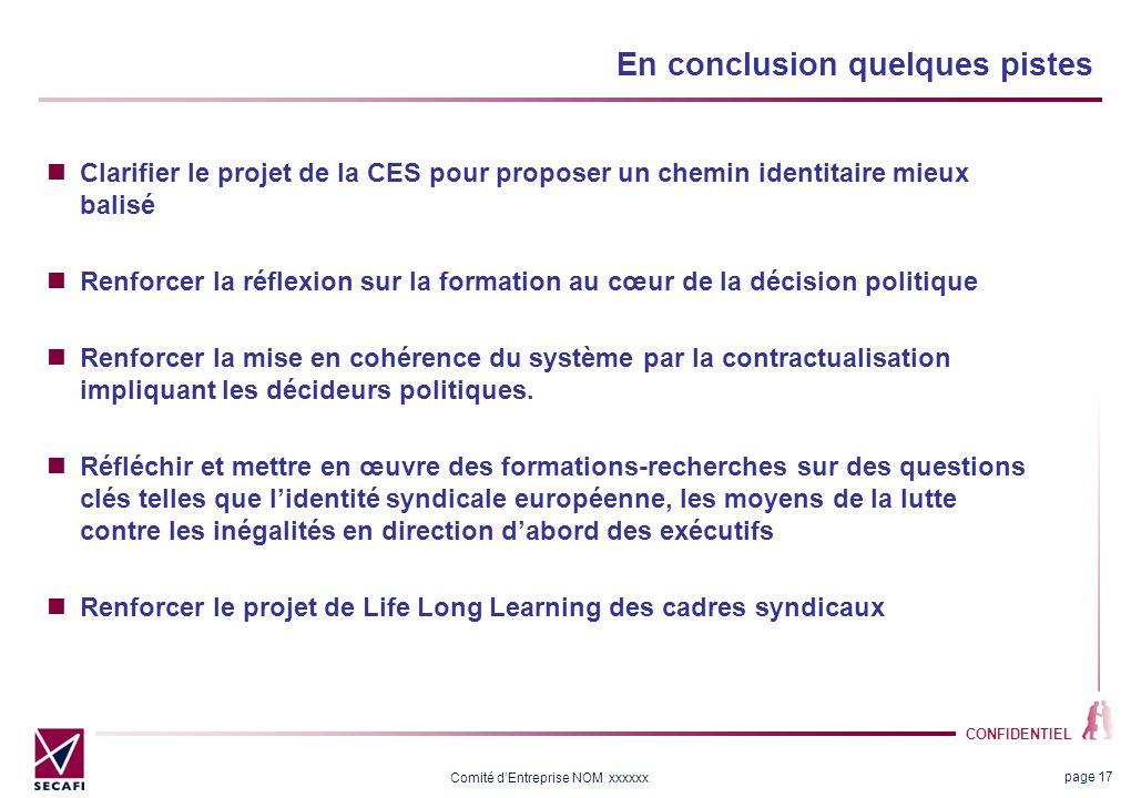 CONFIDENTIEL Comité dEntreprise NOM xxxxxx En conclusion quelques pistes Clarifier le projet de la CES pour proposer un chemin identitaire mieux balis