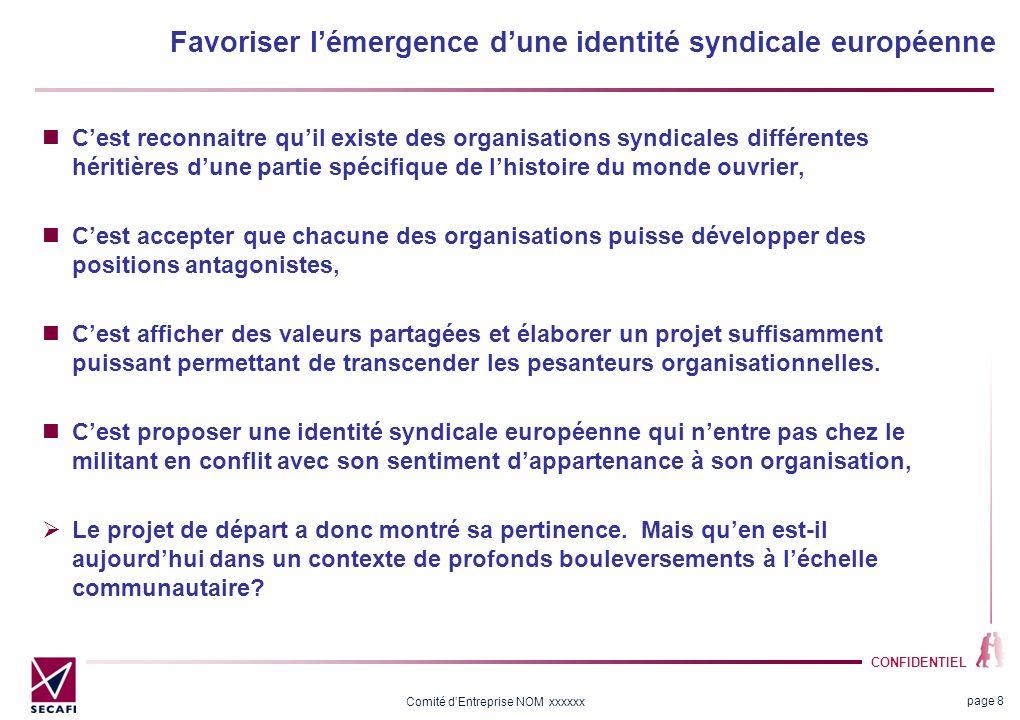CONFIDENTIEL Comité dEntreprise NOM xxxxxx Favoriser lémergence dune identité syndicale européenne Cest reconnaitre quil existe des organisations synd