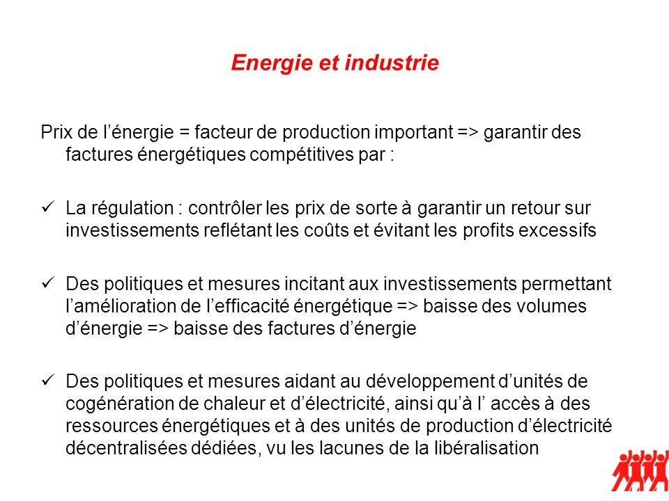 Energie et industrie Prix de lénergie = facteur de production important => garantir des factures énergétiques compétitives par : La régulation : contr