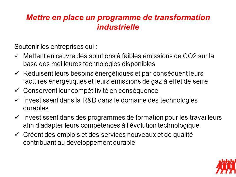 Mettre en place un programme de transformation industrielle Soutenir les entreprises qui : Mettent en œuvre des solutions à faibles émissions de CO2 s