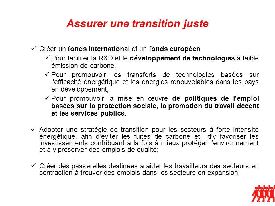 Assurer une transition juste Créer un fonds international et un fonds européen Pour faciliter la R&D et le développement de technologies à faible émis