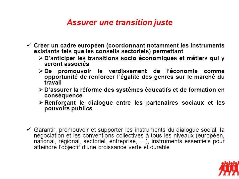 Assurer une transition juste Créer un cadre européen (coordonnant notamment les instruments existants tels que les conseils sectoriels) permettant Dan