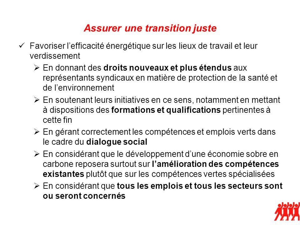 Assurer une transition juste Favoriser lefficacité énergétique sur les lieux de travail et leur verdissement En donnant des droits nouveaux et plus ét