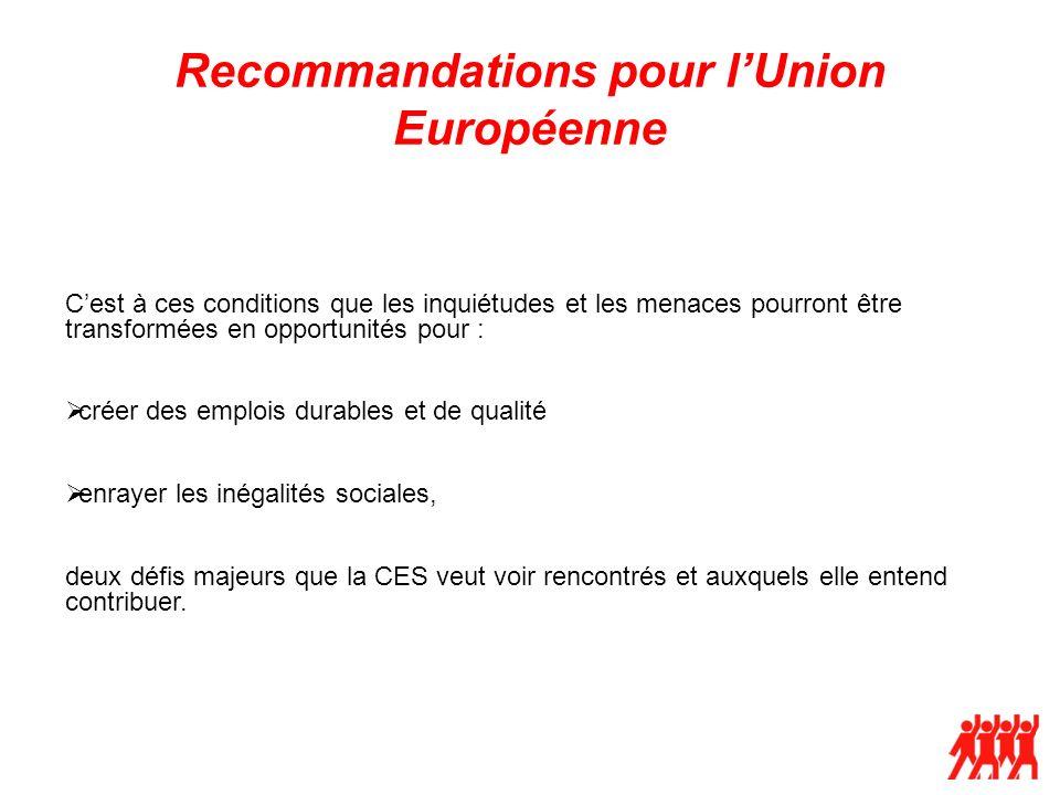 Recommandations pour lUnion Européenne Cest à ces conditions que les inquiétudes et les menaces pourront être transformées en opportunités pour : crée