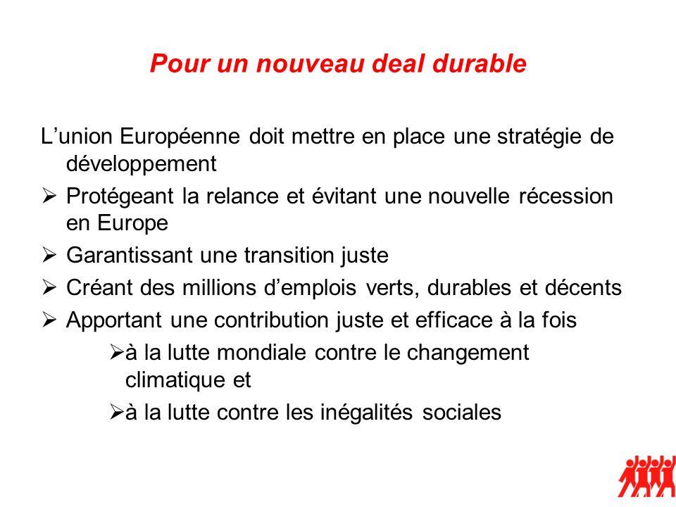 Pour un nouveau deal durable Lunion Européenne doit mettre en place une stratégie de développement Protégeant la relance et évitant une nouvelle réces