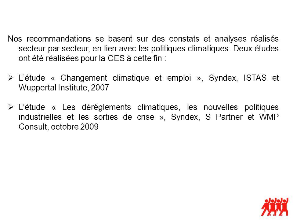 Nos recommandations se basent sur des constats et analyses réalisés secteur par secteur, en lien avec les politiques climatiques. Deux études ont été