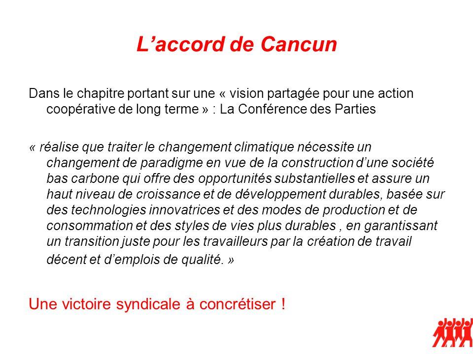 Laccord de Cancun Dans le chapitre portant sur une « vision partagée pour une action coopérative de long terme » : La Conférence des Parties « réalise