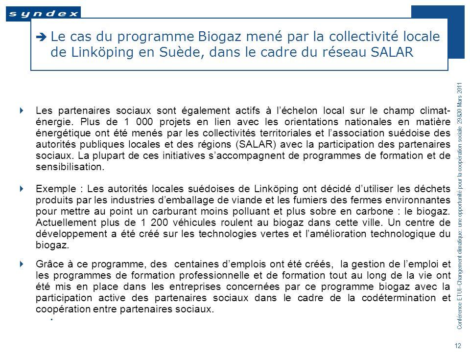 Conférence ETUI–Changement climatique: une opportunité pour la coopération sociale 29&30 Mars 2011 12 Le cas du programme Biogaz mené par la collectiv