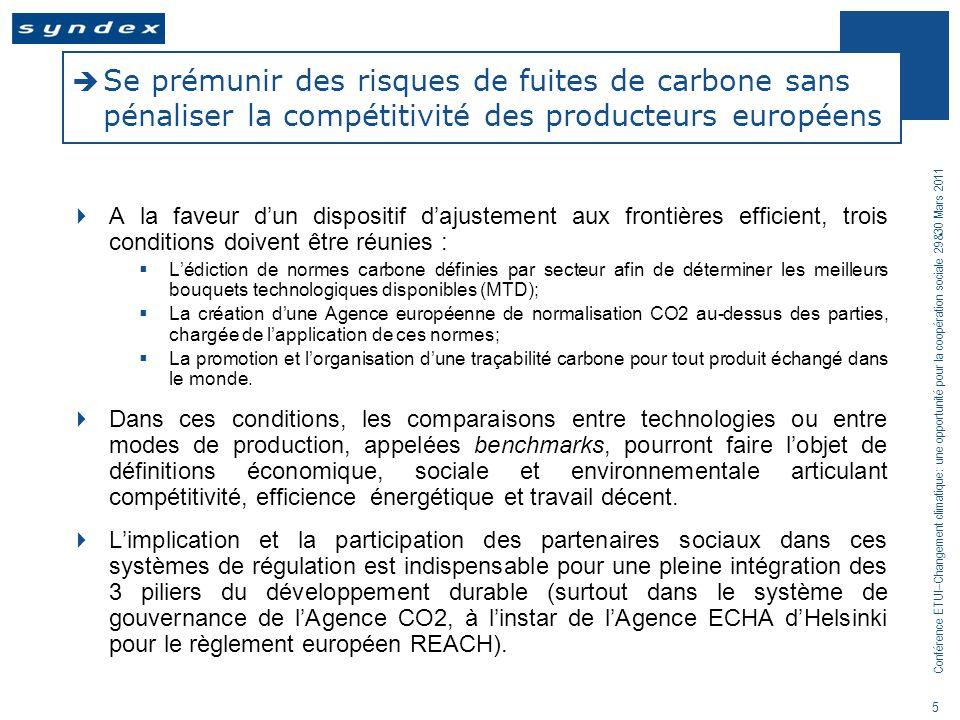 Conférence ETUI–Changement climatique: une opportunité pour la coopération sociale 29&30 Mars 2011 5 Se prémunir des risques de fuites de carbone sans