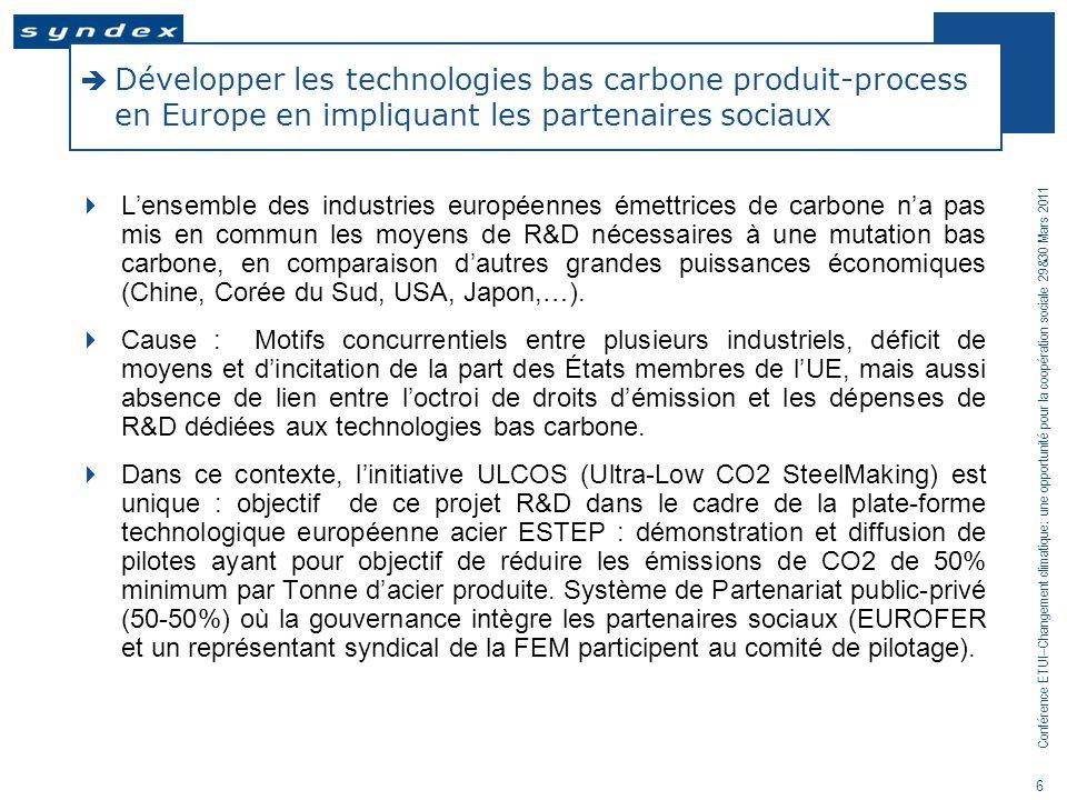 Conférence ETUI–Changement climatique: une opportunité pour la coopération sociale 29&30 Mars 2011 6 Développer les technologies bas carbone produit-p