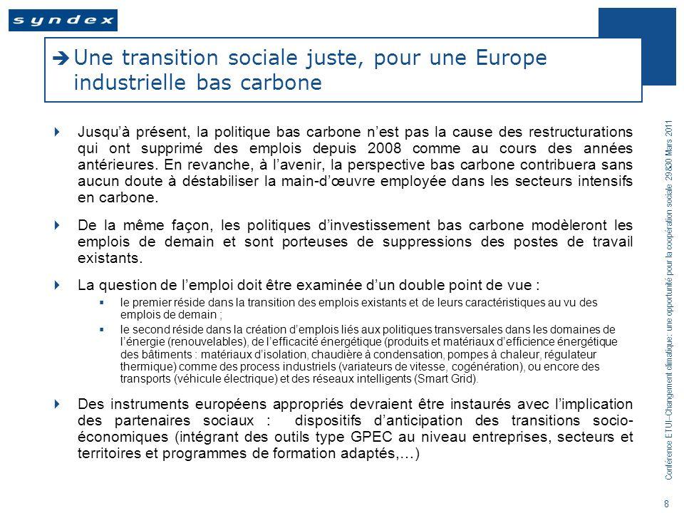 Conférence ETUI–Changement climatique: une opportunité pour la coopération sociale 29&30 Mars 2011 9 Etude conjointe des partenaires sociaux européens : «Impact emploi des politiques climatiques» 2010-11 Etude réalisée par Syndex (avec la contribution de S.
