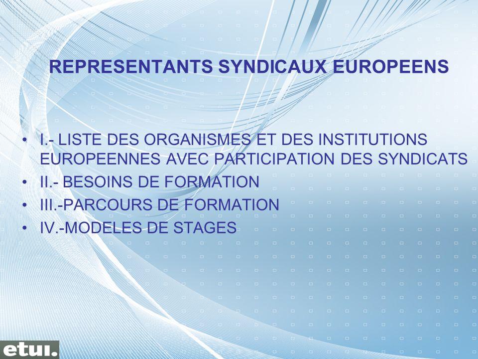 I.- LISTE DES ORGANISMES ET DES INSTITUTIONS EUROPEENNES AVEC PARTICIPATION DES SYNDICATS II.- BESOINS DE FORMATION III.-PARCOURS DE FORMATION IV.-MOD