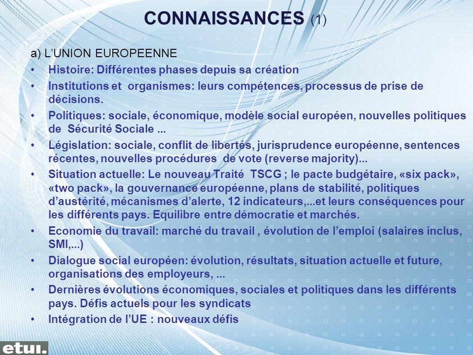 CONNAISSANCES (1) a) LUNION EUROPEENNE Histoire: Différentes phases depuis sa création Institutions et organismes: leurs compétences, processus de pri