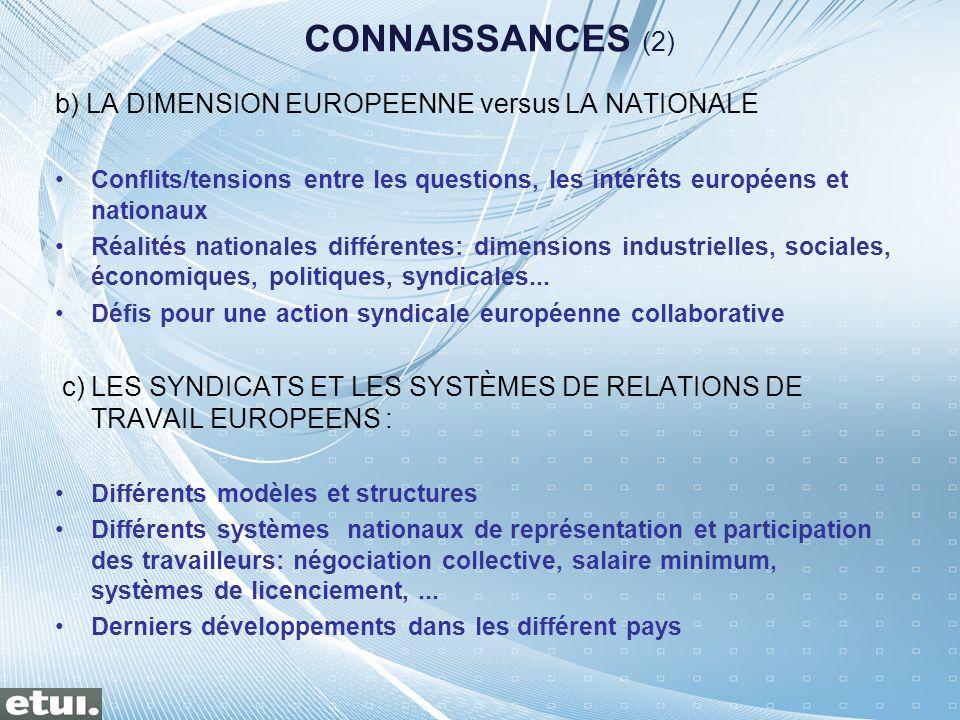 b) LA DIMENSION EUROPEENNE versus LA NATIONALE Conflits/tensions entre les questions, les intérêts européens et nationaux Réalités nationales différen