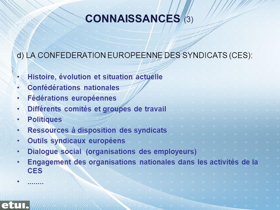 d) LA CONFEDERATION EUROPEENNE DES SYNDICATS (CES): Histoire, évolution et situation actuelle Confédérations nationales Fédérations européennes Différ
