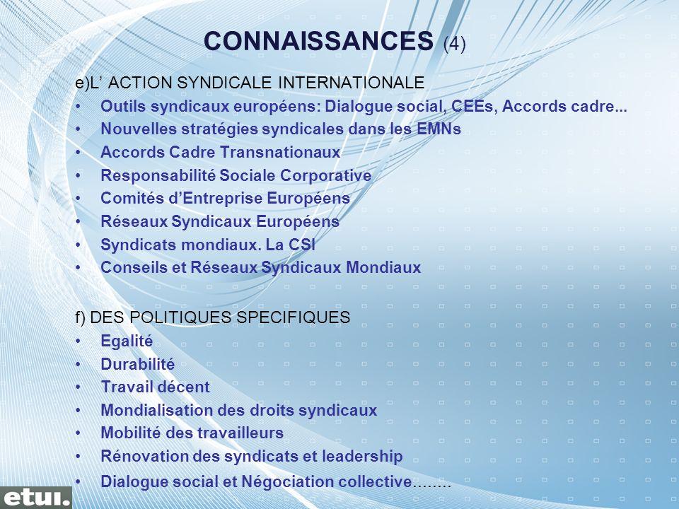 e)L ACTION SYNDICALE INTERNATIONALE Outils syndicaux européens: Dialogue social, CEEs, Accords cadre... Nouvelles stratégies syndicales dans les EMNs