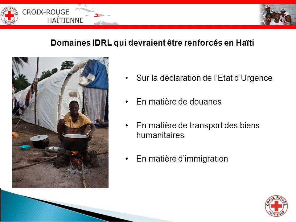 Domaines IDRL qui devraient être renforcés en Haïti Sur la déclaration de lEtat dUrgence En matière de douanes En matière de transport des biens human