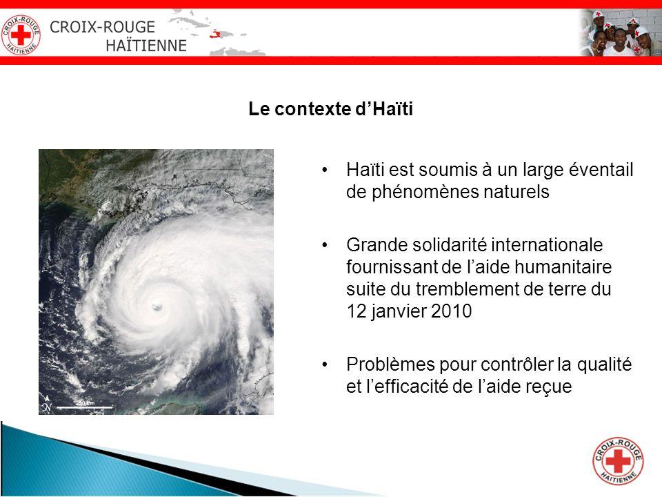 Le contexte dHaïti Haïti est soumis à un large éventail de phénomènes naturels Grande solidarité internationale fournissant de laide humanitaire suite