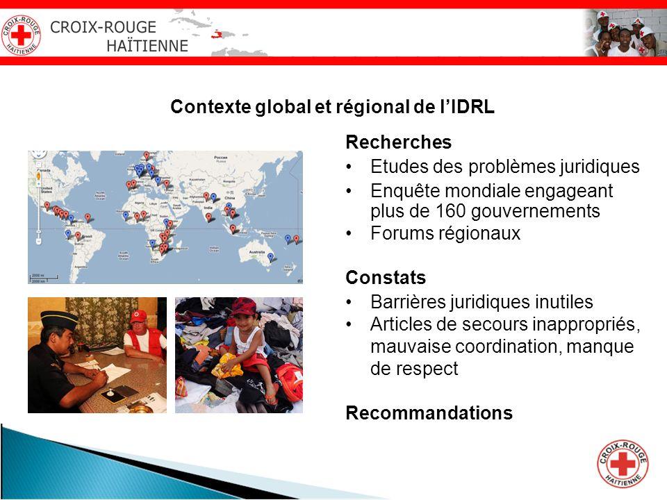 Contexte global et régional de lIDRL Recherches Etudes des problèmes juridiques Enquête mondiale engageant plus de 160 gouvernements Forums régionaux