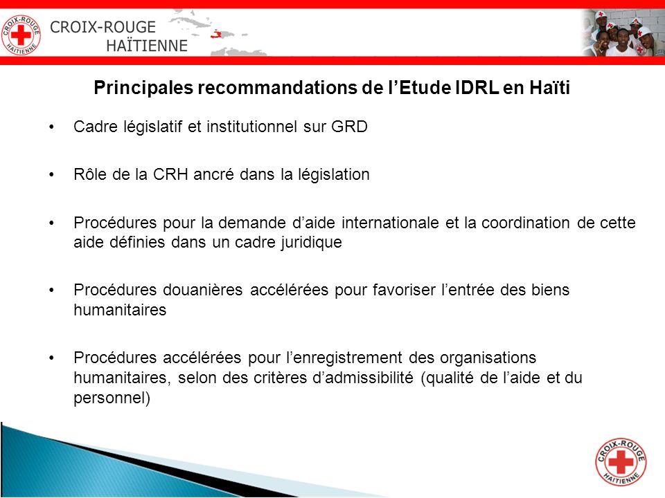 Principales recommandations de lEtude IDRL en Haïti Cadre législatif et institutionnel sur GRD Rôle de la CRH ancré dans la législation Procédures pou
