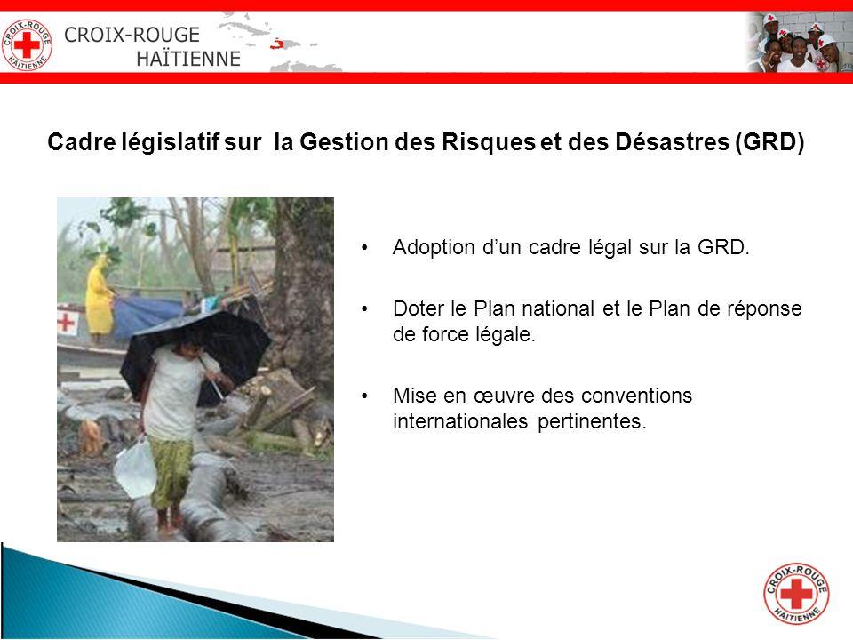 Cadre législatif sur la Gestion des Risques et des Désastres (GRD) Adoption dun cadre légal sur la GRD. Doter le Plan national et le Plan de réponse d