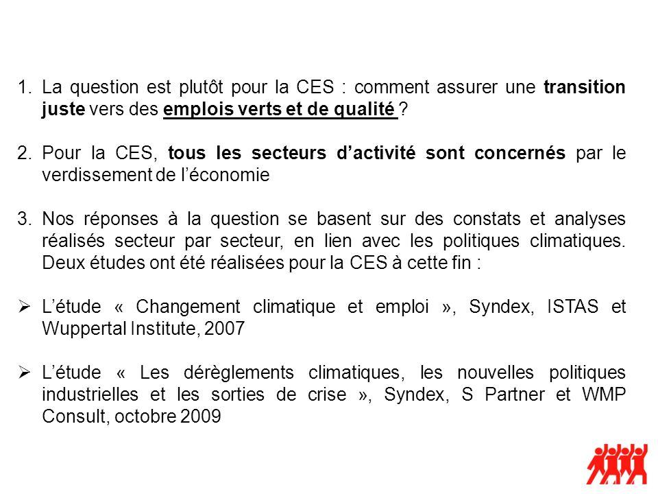 1.La question est plutôt pour la CES : comment assurer une transition juste vers des emplois verts et de qualité .