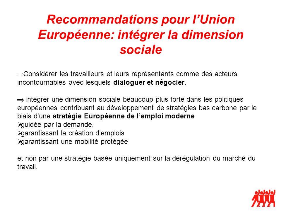 Recommandations pour lUnion Européenne: intégrer la dimension sociale Considérer les travailleurs et leurs représentants comme des acteurs incontournables avec lesquels dialoguer et négocier.