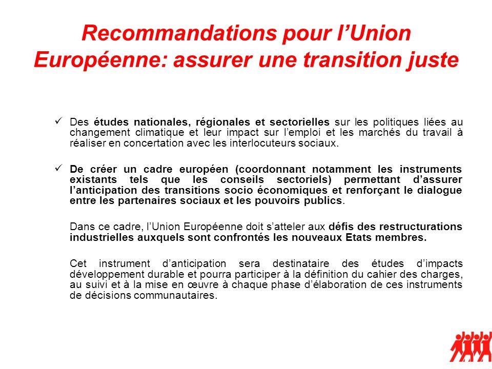 Recommandations pour lUnion Européenne: assurer une transition juste Des études nationales, régionales et sectorielles sur les politiques liées au changement climatique et leur impact sur lemploi et les marchés du travail à réaliser en concertation avec les interlocuteurs sociaux.